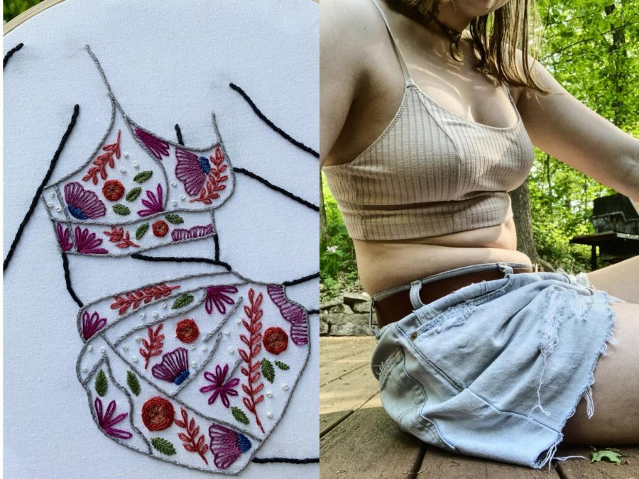 "Madison Dier, founder of Madcraftin, holds the first embroidery outline for her ""Normalize Normal Bodies Series."" The series highlights Dier's personal acceptance of body image and an inspiration for her customer following."