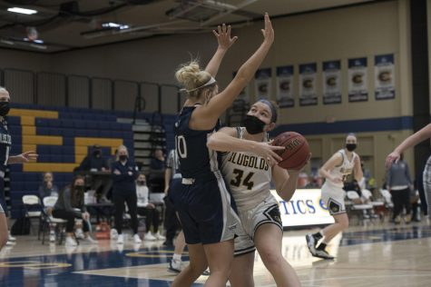 Fourth-year center Katie Essen lead the Blugolds in scoring with 23 points