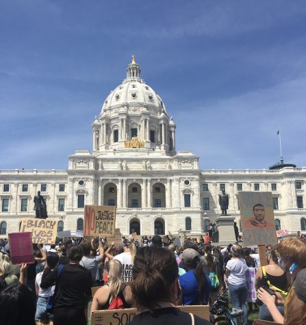 Protestors outside of the Minnesota State Capitol calling for justice, following the murder of George Floyd.