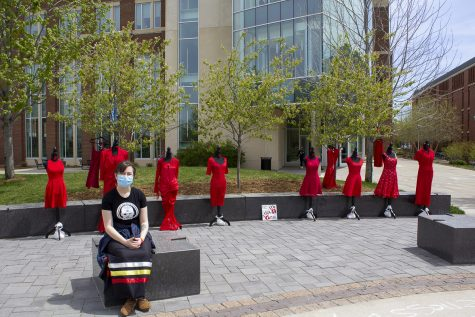 UW-Eau Claire Inter-Tribal Student Council exhibits red dress display