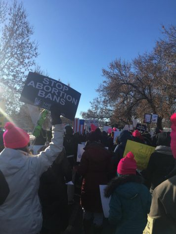 Womens March in Minnesota 2019, features a sign that says Stop Abortion Bans
