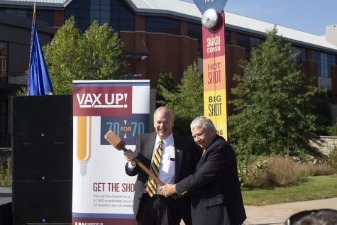 Both UW System Interim President Tommy Thompson and Chancellor James Schmidt spoke at the event Monday.