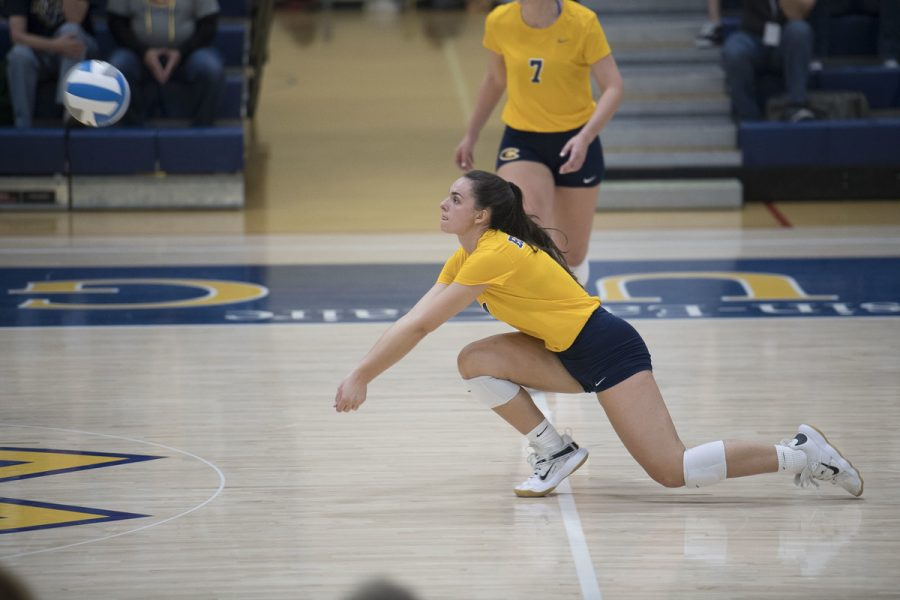 The+UW-Eau+Claire+volleyball+team+continued+their+winning+streak+on+the+road+against+St.+Scholastica.