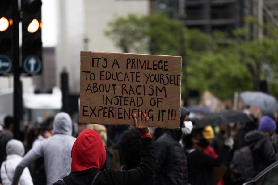 """A photo taken during a protest that states """"it's a privilege to educate yourself about racism, instead of experiencing it."""""""
