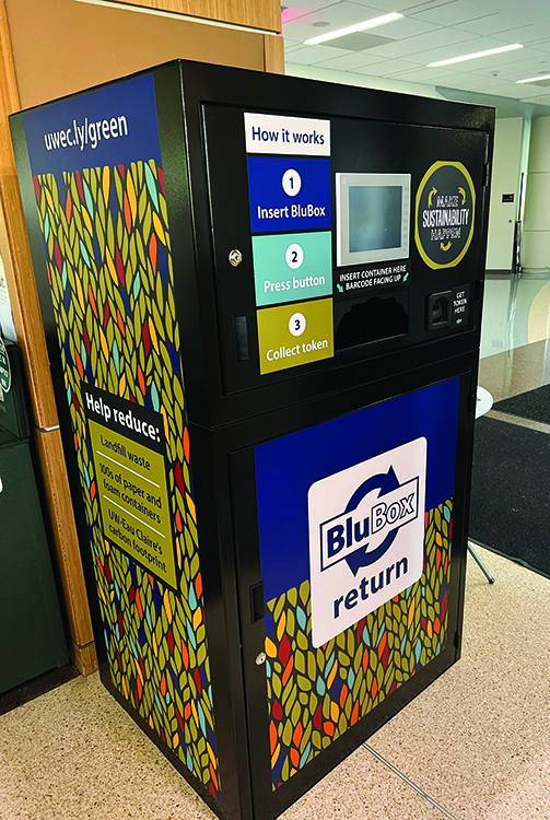 One of the Blubox return machines located in Davies Student Center