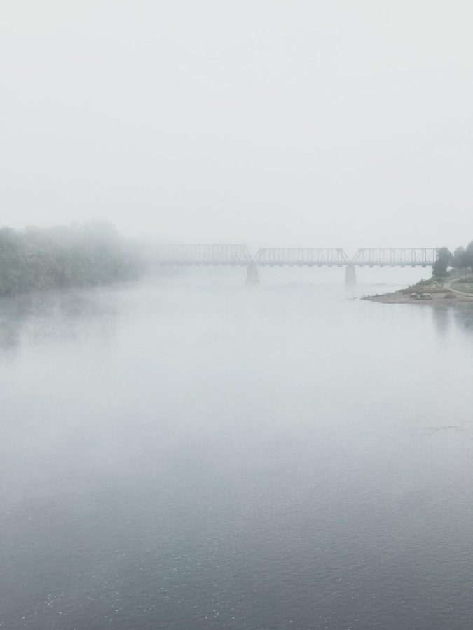 The river and Phoenix Park Bridge are setting the vibe for Halloween with some fog and mystery